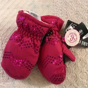 S/M Girls Pink Thinsulate Ski Gloves